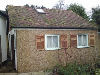 Garage with asbestos tiles